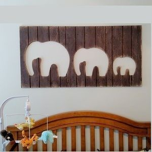 Hand Made Three Elephants Wall Art Decor Cut Out Wood Sign