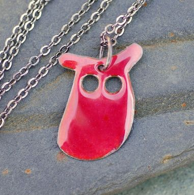 Custom Made Enamel Owl Pendant, Necklace, Copper, Enameled Jewelry - Bright Pink