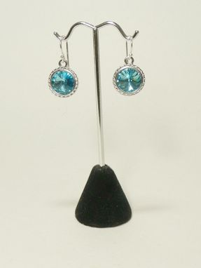 Custom Made Swarovski Aquamarine 12mm Rivoli Earrings
