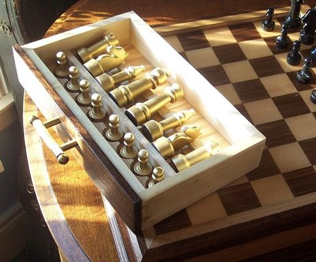 Custom Made Custom Chess Set In Walnut, Maple, And Steel
