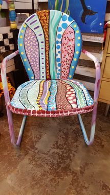"Custom Made Old Metal ""Grandpa"" Chair Painted Pretty"