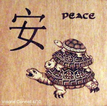 Custom Made Feng Shui Wood Burned Wall Hanging 'Peace' (Pyrography)