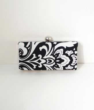 Custom Made Black And White Cotton Damask Clutch Purse