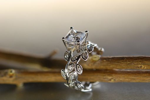 Custom Made Princess Cut Moissanite. Leaf Engagement Ring Set. 14k Gold Wedding Set.