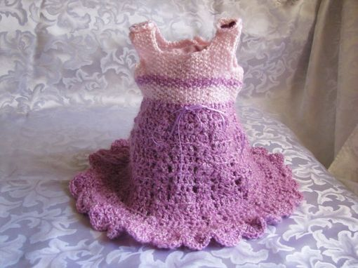 Custom Made Infant Toddler Or Girls Purple And Pink Crochet Jumper Dress