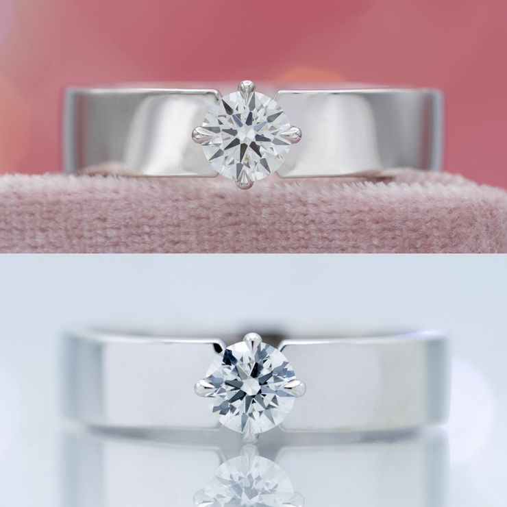 This diamond shows excellent Hearts & Arrows when captured perfectly head-on in the top photo, but even a slight angle obscures the arrows pattern in the bottom photo.