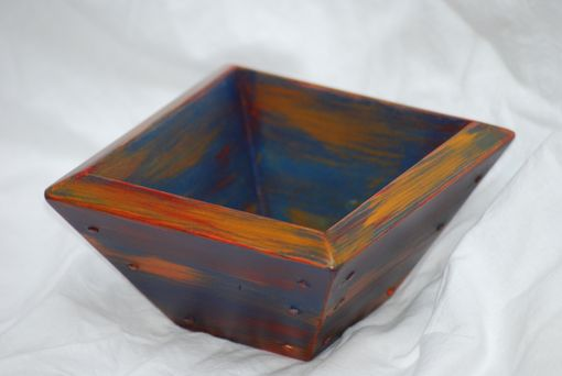 Custom Made Hand Made Reclaimed Square Wooden Bowl