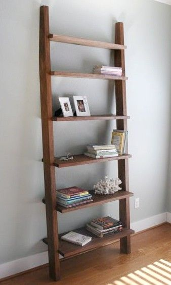 Custom Made Single Leaning Bookshelf Bookcase In Walnut