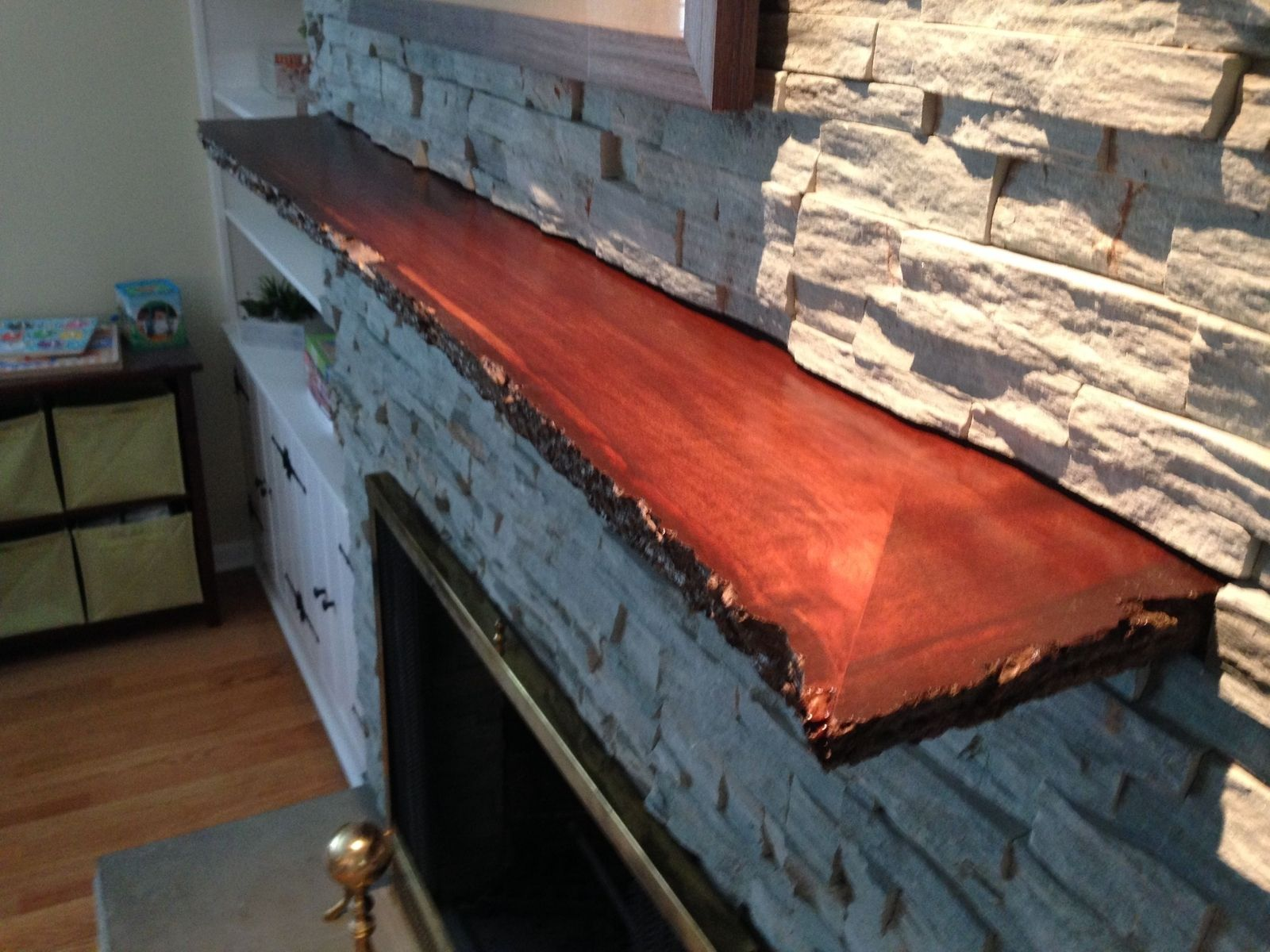 Hand Crafted Live Edge Slab Fireplace Mantle By Mad
