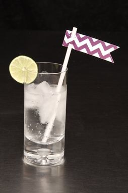 Custom Made Wedding Straw Flags - Purple Chevron - Drink Stirrers - Paper Straw Flags
