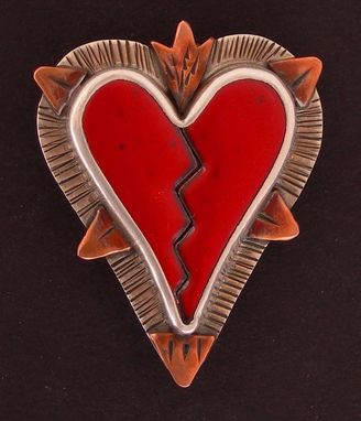 Custom Made Broken Heart Necklace Pendant Red- Enamel