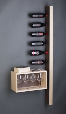 Custom Made Uncorked Wine Rack With Glass Storage