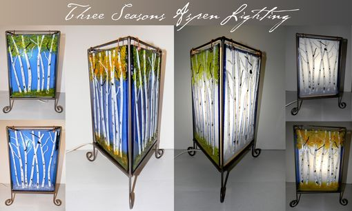 Custom Made Three Seasons Fused Glass Table Lamp