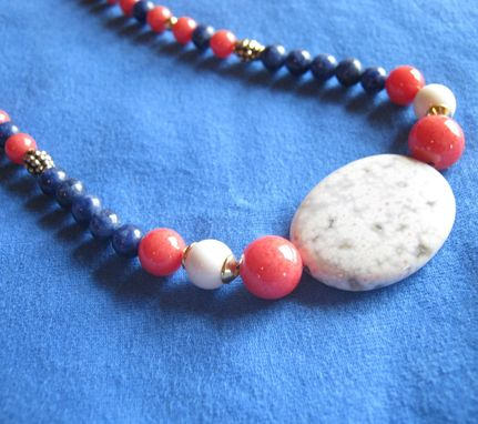 Custom Made Blue Lapis And Agate Gold Necklace