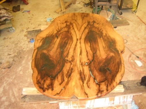Custom Made Mesquite Oval Table Top With Turquoise Inlay