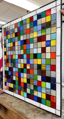Custom Made Color Mix Ii Stained Glass Panel (P-49)
