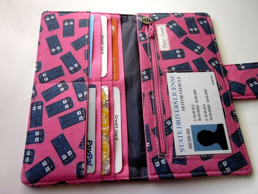 Custom Made Handmade Women Pink Wallet Blue Police Box Dr Who