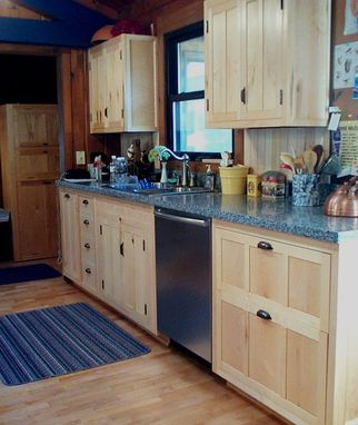 Custom Made Kitchen Cabinets In Maple With Live-Edge Bookshelves
