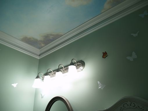 Custom Made Blue Sky Mural On Canvas For Powder Room Ceiling By Visionary Mural Co.