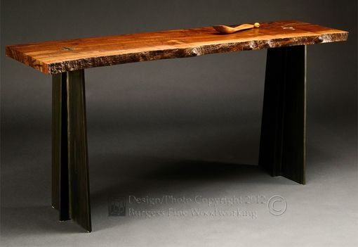 Custom Made Claro-Walnut Sofa Table With Steel Legs
