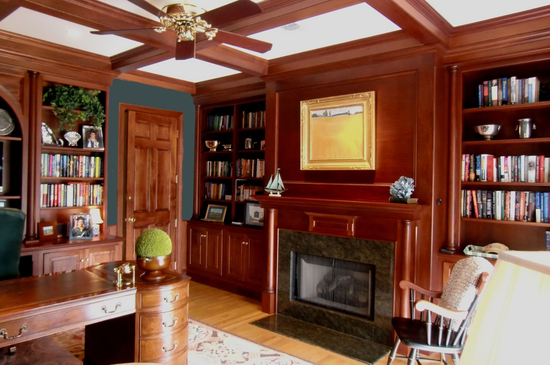 Hand Crafted Mahogany Study With Fireplace By Odhner