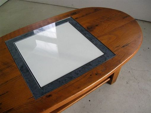 Oval Coffee Table With Game Board Inlay