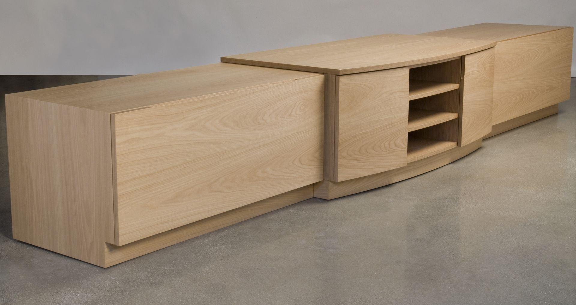 White Oak Furniture ~ Custom made mobile white oak audio video credenza by eben
