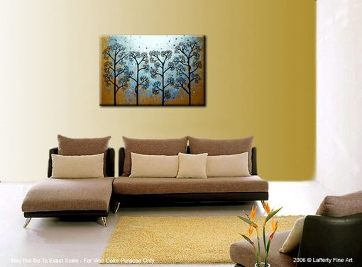 Custom Made Original Abstract Tree Painting, Textured Abstract Metallic Gold Impasto Trees, 36x24""