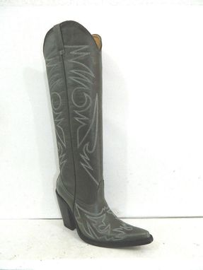 Custom Made Made To Order 22 Inch Tall Dark Gray Cowboy Boots Sharp Toe And 5 Inch Heels