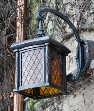 Custom Made Exterior Bronze And Stained Glass Light Fixtures