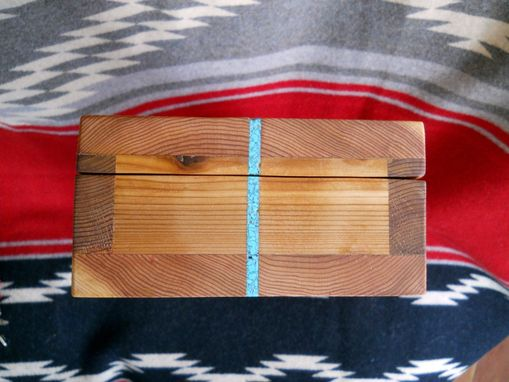 Custom Made Custom Cedar Box With Turquoise Inlay And Antique Brass Hardware
