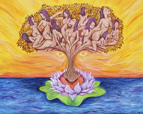 "Custom Made ""Giving Tree""- Colorful- Goddess Tree - Lotus Flower -Abstract - Landscape 8x10"