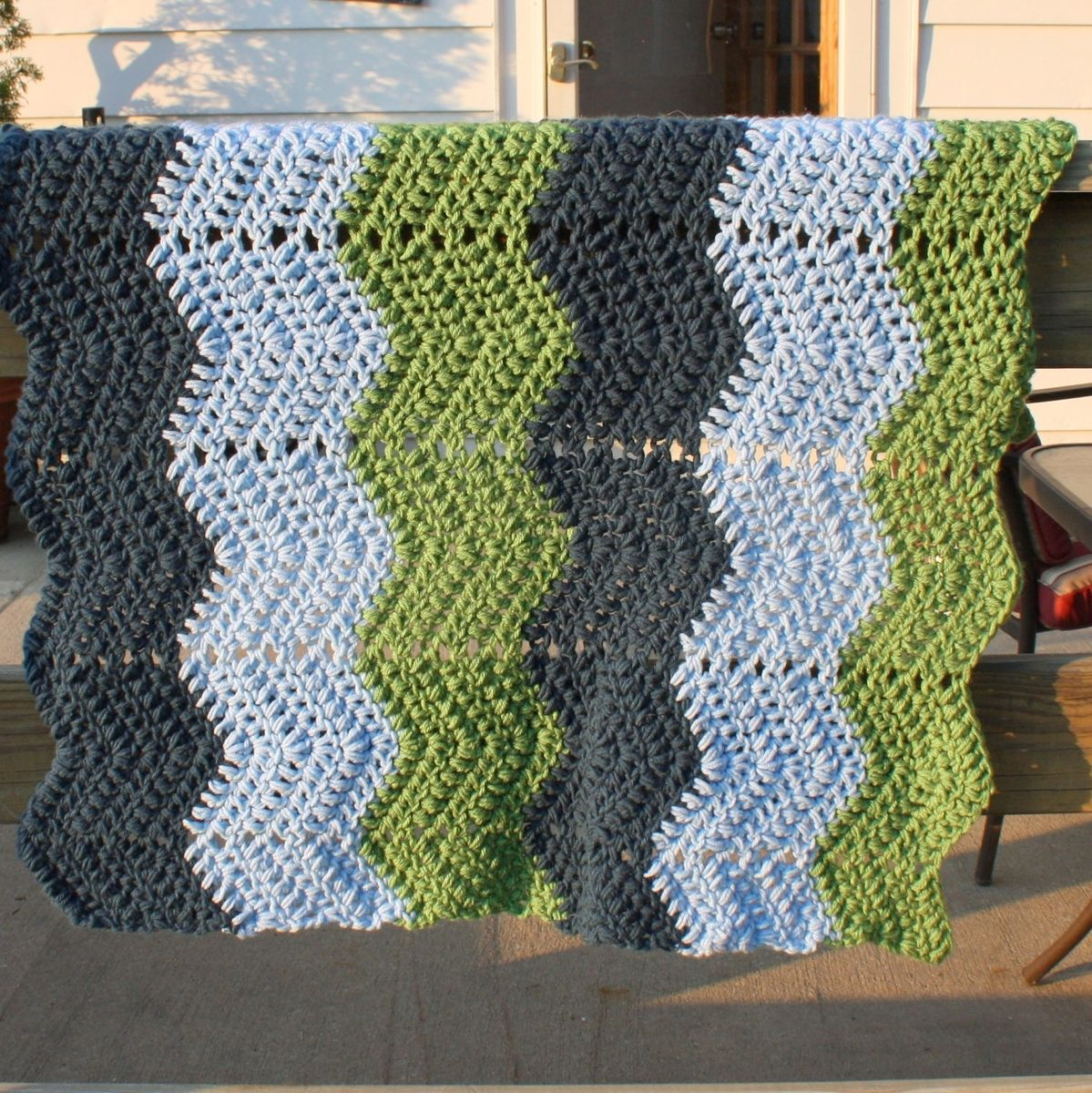 Hand Made Custom Crochet Baby Blanket Chevron Dark Blue