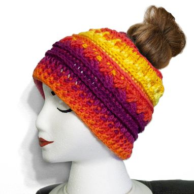 Custom Made Colorful Crochet Messy Bun Hat