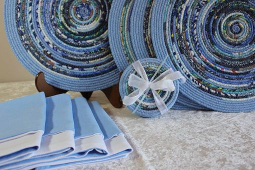Custom Made Fabric Placemat Set - Fabric Wrapped Clothesline - Blues