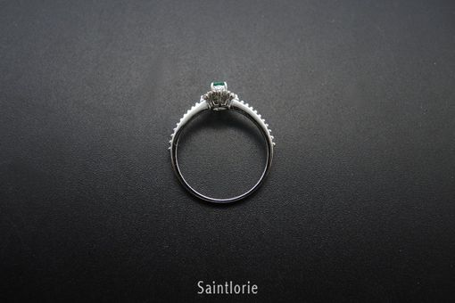 Custom Made 0.25 Carat Emerald Engagement Ring, White Gold