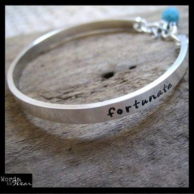 Custom Made Personalized Hand Stamped Sterling Cuff Bangle - Names, Quote, Poetry