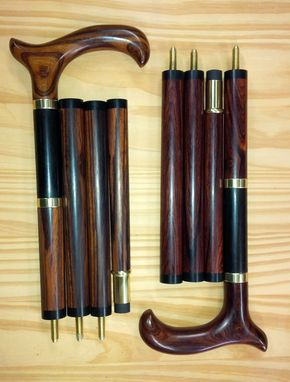 Custom Made Set Of Walking Canes With Screw Joints.