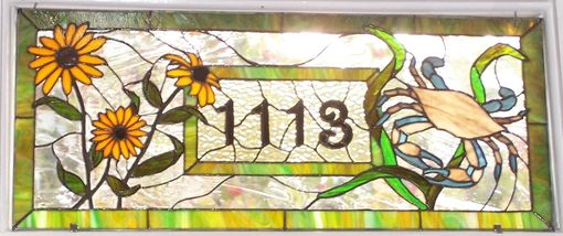 Custom Made Stained Glass Window - Maryland Crab And Black Eyed Susan Transom (Am-32)