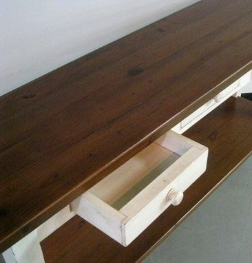 Custom Made White Console Table With Shelf