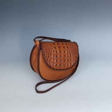 Custom Made Cory Leather Purse: Light Brown With Light Brown Croco Accent