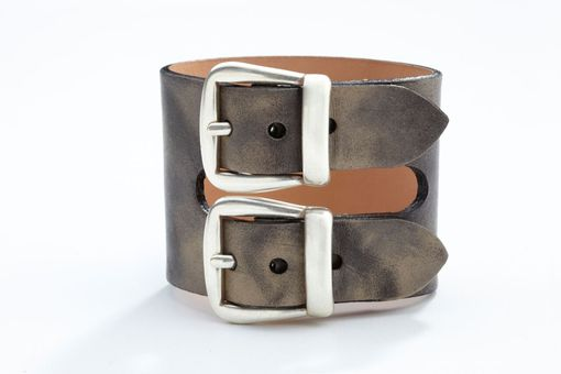 Custom Made Genuine Leather Double-Buckle Bracelet/Cuff In Washed Gray