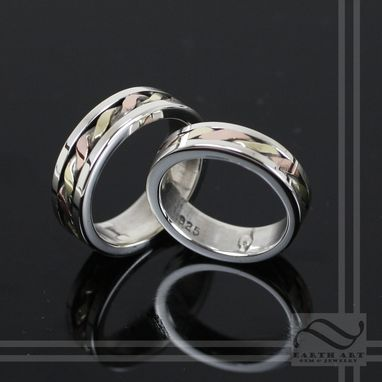 Custom Made Hand Woven Mixed Metal Wedding Set