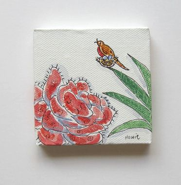 Custom Made Miniature Acrylic Bird Painting On A Mini Canvas, Original Minature Painting
