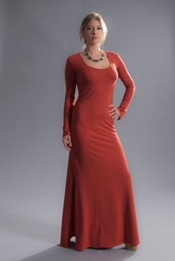 Custom Made Red Hot Chili Maxi Dress In Soy/Organic Cotton Jersey Knit - Amber/Red/Orange -