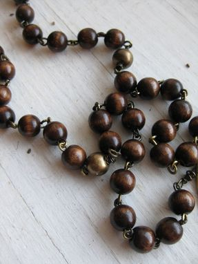 Custom Made Brass And Wood Rosary
