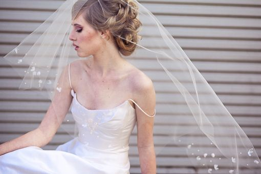 Custom Made Veil With Scattered Flowers And Pearls