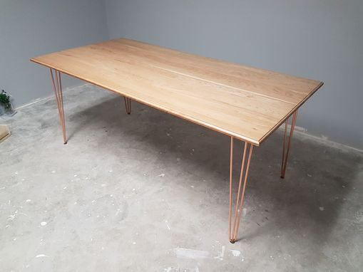 Custom Made Mid Century Modern Solid Cherry Table With Copper Hairpin Legs