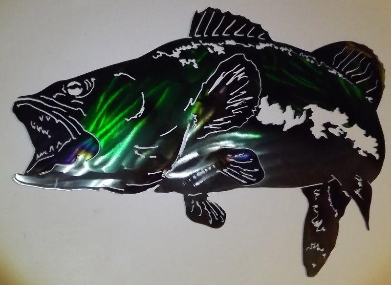 Hand Crafted Bass Metal Wall Art Sculpture By Superior Iron Artz Llc