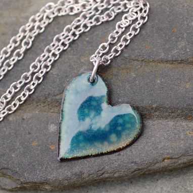 Custom Made Enamel Heart Pendant Necklace Copper Little Opal Blue
